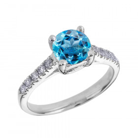1.0ct Blue Topaz and Diamond Solitaire Engagement Ring in 9ct White Gold