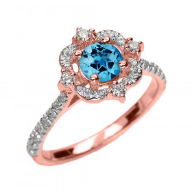 0.55ct Blue Topaz and Diamond Vintage Engagement Ring in 9ct Rose Gold