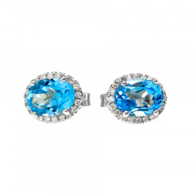 2.0ct Blue Topaz Elegant Oval Halo Stud Earrings in 9ct White Gold