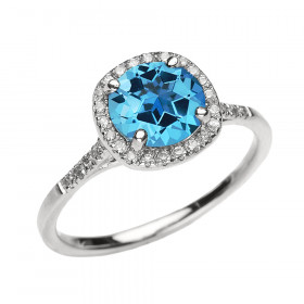 1.5ct Blue Topaz Halo Engagement Ring in 9ct White Gold