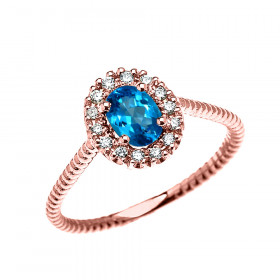 0.25ct Blue Topaz Halo Rope Design Promise Ring in 9ct Rose Gold