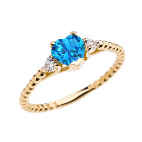 0.6ct Blue Topaz Heart Beaded Band Promise Ring in 9ct Gold