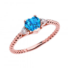 0.6ct Blue Topaz Heart Beaded Band Promise Ring in 9ct Rose Gold