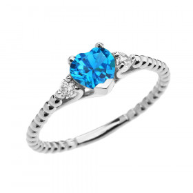 0.6ct Blue Topaz Heart Beaded Band Promise Ring in 9ct White Gold