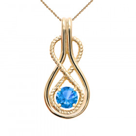0.22ct Blue Topaz Infinity Rope Pendant Necklace in 9ct Gold