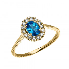 0.25ct Blue Topaz Oval Halo Rope Promise Ring in 9ct Gold
