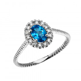0.25ct Blue Topaz Oval Halo Rope Promise Ring in 9ct White Gold