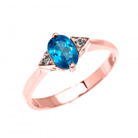 0.5ct Blue Topaz Oval Promise Ring in 9ct Rose Gold