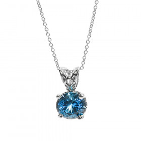 1.05ct Blue Topaz Pendant Necklace in 9ct White Gold