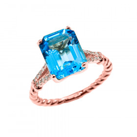 5.0ct Blue Topaz Rope Design Promise Twisted Rope Ring in 9ct Rose Gold