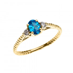 0.25ct Blue Topaz Rope Design Promise Twisted Rope Ring in 9ct Gold