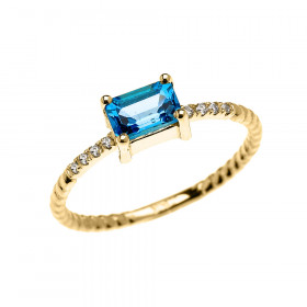 0.1ct Blue Topaz Rope Design Promise Twisted Rope Ring in 9ct Gold