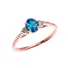 0.25ct Blue Topaz Rope Design Promise Twisted Rope Ring in 9ct Rose Gold
