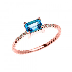 0.1ct Blue Topaz Rope Design Promise Twisted Rope Ring in 9ct Rose Gold