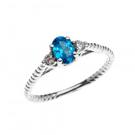 0.25ct Blue Topaz Rope Design Promise Twisted Rope Ring in 9ct White Gold