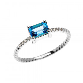 0.1ct Blue Topaz Rope Design Promise Twisted Rope Ring in 9ct White Gold