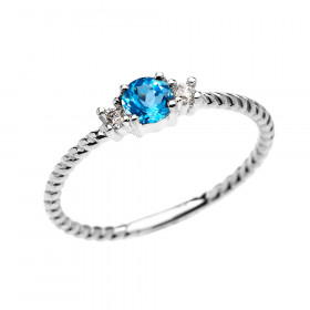 0.22ct Blue Topaz Stackable Rope Design Promise Twisted Rope Ring in 9ct White Gold