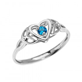0.08ct Blue Topaz Trinity Knot Heart Engagement Ring in 9ct White Gold