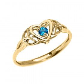 0.08ct Blue Topaz Trinity Knot Heart Ring in 9ct Gold