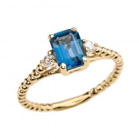 1.5ct Blue Topaz and White Topaz Beaded Twisted Rope Ring in 9ct Gold