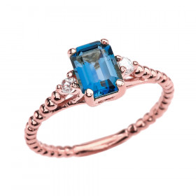 1.5ct Blue Topaz and White Topaz Beaded Twisted Rope Ring in 9ct Rose Gold