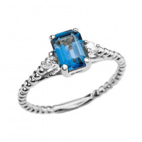 1.5ct Blue Topaz and White Topaz Beaded Twisted Rope Ring in 9ct White Gold