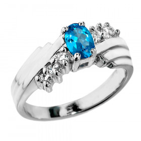 0.5ct Blue Topaz and White Topaz Ring in Sterling Silver