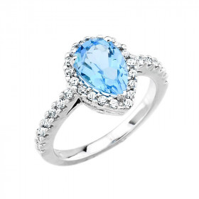 1.33ct Blue Zirconia and Diamond Halo Engagement Ring in 9ct White Gold
