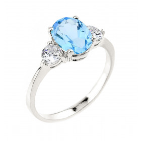 Blue Zirconia Engagement Ring in 9ct White Gold