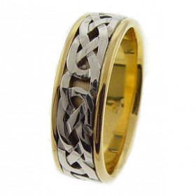 Bold Celtic Wedding Ring in 9ct Two-Tone Gold