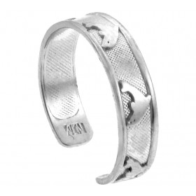 Bold Dolphin Toe Ring in 9ct White Gold
