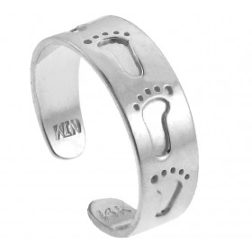 Bold Footprint Toe Ring in 9ct White Gold