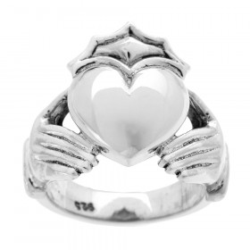 Bold Heavy Claddagh Ring in Sterling Silver
