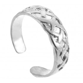 Bold Trinity Knot Toe Ring in 9ct White Gold
