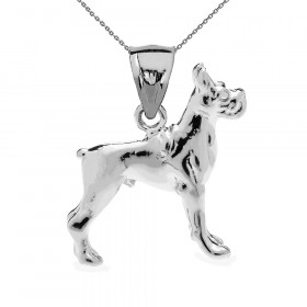 Boxer Pendant Necklace in 9ct White Gold