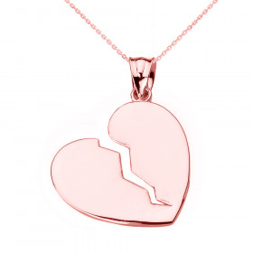 Broken Heart Pendant Necklace in 9ct Rose Gold