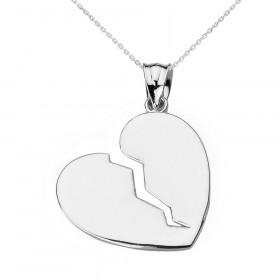 Broken Heart Pendant Necklace in 9ct White Gold