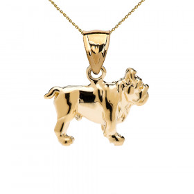 Bulldog Pendant Necklace in 9ct Gold