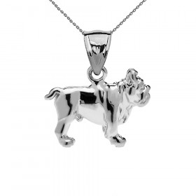 Bulldog Pendant Necklace in Sterling Silver