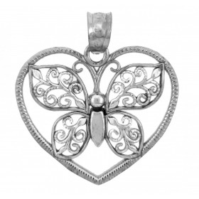 Butterfly Heart Charm Pendant Necklace in 9ct White Gold