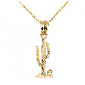 Cactus Charm Pendant Necklace in 9ct Gold