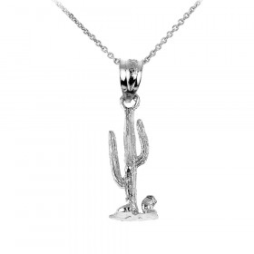Cactus Charm Pendant Necklace in 9ct White Gold