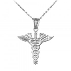 Caduceus Charm Pendant Necklace in 9ct White Gold