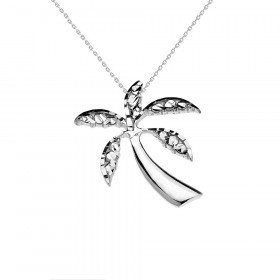 California Palm Tree Charm Pendant Necklace in 9ct White Gold