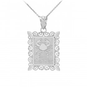 Cancer Zodiac Pendant Necklace in 9ct White Gold