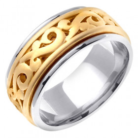 Celtic Wedding Ring in 9ct Two-Tone Gold