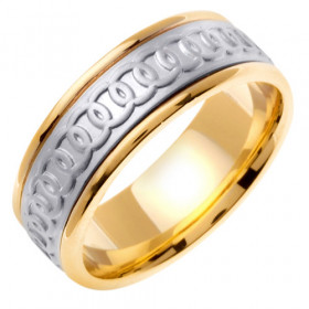 Circle Celtic Wedding Ring in 9ct Two-Tone Gold