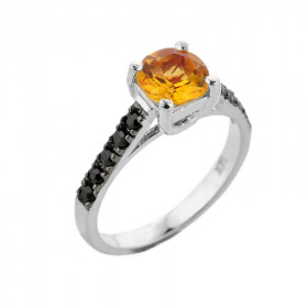 1.0ct Citrine and Black Diamond Engagement Ring in 9ct White Gold