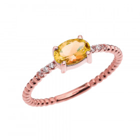 0.6ct Citrine and Diamond Beaded Band Engagement Ring in 9ct Rose Gold