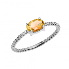 0.6ct Citrine and Diamond Beaded Band Engagement Ring in 9ct White Gold